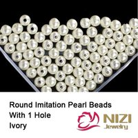 Wholesale Loose Ivory Pearls Wholesale - Wholesale- Loose Imitation Pearls for jewelry Accessories Resin Round Ivory Imitation Pearls With Hole 18g bag Many Sizes Beads For Choose