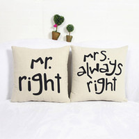 Wholesale Very Soft Cushion - Wholesale- Pillow Case New Very soft pillow cushion case cover Mr right&Mrs always right quote print pillow slip linen cotton on sale
