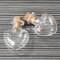 Wholesale Tiny Bottle Charm Cork - Wholesale- 20pcs 2*1.1cm 0.8*0.4 Cork Empty Small Tiny Clear Message Glass Bottles Charming Pendant Decorative Corked Mini Glass Bottle
