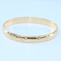 Wholesale Hinged Bracelets - Women Fashion 24K Yellow Gold Filled Openable Bangle Solid Carved Oval Shaped 8MM Bridal Hinged Bracelet