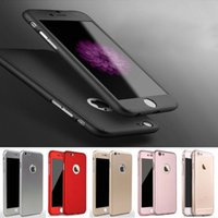 Wholesale 360 Degree Cases All around Full Body Hard Hybrid Protective Shockproof Skin Cover with Screen Tempered Glass for Apple Iphone s plus se