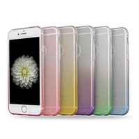 Soft Bling Gradient Colorful TPU Case para iPhone 5 5S 6 6S Plus Ultra-fino Clear Rainbow Transparente Skin Cover DHL Wholesale
