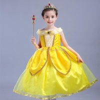 Wholesale Fairy Baby Clothes - New baby girls Beauty and the beast dress summer cartoon Children cos Belle princess dresses Kids Clothing C2084