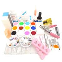 Wholesale Uv Gel Brush Cleanser - Wholesale- Pro 12 Color UV Gel Nail Brushes Topcoat Cleanser Plus Nail Glue Rhinestones Base gel oil Nail Art Tool Kits Manicure Set