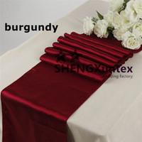 corredores de mesa de casamento borgonha venda por atacado-Corredor da tabela do cetim da cor de Borgonha \ corredor da tabela do banquete para o casamento usado no pano de tabela