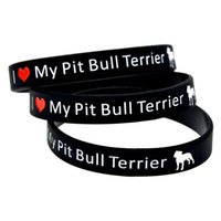 Wholesale Wholesle Gifts - Wholesle 100PCS Lot I Love My Pit Bull Terrier Silicon Wristband, It' Soft And Flexible Great For Normal Day To Day Wear