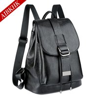 Wholesale Leather Fashionable Backpacks - The new 2017 leather backpack High quality with drawstring backpack Ms contracted and fashionable joker institute wind package