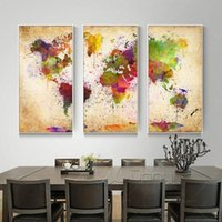 Wholesale Map Canvas Art - 3 Pieces Canvas Wall Art Abstract Painting Watercolor World Map Canvas Wall Picture For Living Room Canvas Print Unframed
