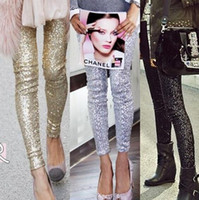 Wholesale Black Sequin Leggings L - new! S-L Women leggings Fashion Gold Black Silver Spangle Sequin Trousers High Elastic Slim was thin Punk club Pants