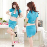 Wholesale sexy police woman costumes online - New Casual Underwear Role Playing Police Uniform Set Temptation All Blue Green Stewardess Sexy Bone Short Skirt lingerie