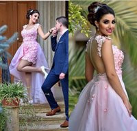 Wholesale Removable Prom Dress Sheath - 2018 Arabic Pink Removable Skirt Prom Dresses Elegant Prom Gowns Lace Appliqued Beads for Party Sheer Back