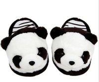 Wholesale nice flip - Cute Panda Slippers Plush Slipper Men Nice Women€s Slippers Indoor Home Flip Flop Sandals Warm Moccasins Soft Flip Flop Velvet Fas