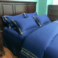 Wholesale embroidered bedding designs for sale - embroidery design cotton fabric bed cover bed sheet pillow case four pieces bedding set queen and kinnd size avaibllmutuaral color