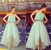 Wholesale Hi Lo Lilac Dress - Two Pieces Spaghetti Sparkling Sequined Light Green Mint Organza A Line Prom Dress Hi Lo Fashion Evening Dress 2017 Saudi Arabia Party Gowns