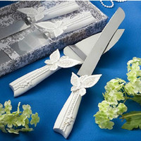 ingrosso set di nozze farfalla-Coltello da torta torta nuziale e server con confezione regalo elegante pala in acciaio inox DT12