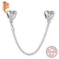 ingrosso diy del fumetto del branello-BELAWANG per le donne 925 Sterling Silver Clear CZ a forma di cuore catena di sicurezza perline di fascino del fumetto fit braccialetto di fascino di Pandora gioielli fai da te fare