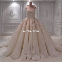 Wholesale princess ball gown bridal dresses - 2018 New Gorgeous Ball Gown Wedding Dresses With 3D Flora Appliques Off The Shoulder Lace Appliques Royal Princess Bridal Gown Custom Made