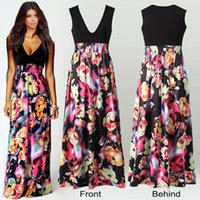 Wholesale Sexy Business Casual Dresses - 2017 Vintage Women's Floral Maxi Dresses Women Black Print Long Casual deep V Dress Elegant Ladies Sexy Backless Business Party Evening Gow
