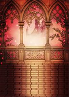 Wholesale Castle Backdrops - 5x7ft Fairy Tale Photography Background Castle Vintage Stone Pavilion Pink Flowers Princess Wedding Photo Backdrop Brick Floor
