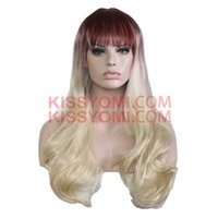 Wholesale Blonde Lolita - Cospaly Wig Harajuku Lolita Wig Long Body Wave Synthetic Hair Brown Mix Blonde Wigs for Women Synthetic Wig