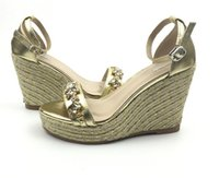 Wholesale Ladies Silver Wedge Heel Shoes - Lady Summer shoes crystal decor straw hemp rope wedge Platform heel open toe thick bottom rhinestone one strap Women Sandals