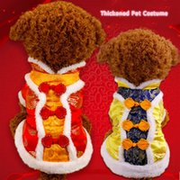 Wholesale Classic Chinese Clothing - Autumn and winter clothes dog pet dog costume thick Chinese New Year festive winter coat Teddy VIP four clothes