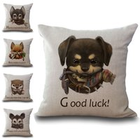 Wholesale Linen Baby Pillow Cases - Little Aniaml Baby Letter Best Wishes Throw Pillow Cases Cushion Cover Pillowcase Linen Cotton Square Pillow Case Pillowslip 240564