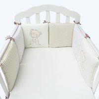 Wholesale Bedding Set Bumper - Hot Sale 6Pcs Lot Baby Bed Bumper in the Crib Cot Bumper Baby Bed Protector Crib Bumper Newborns Toddler Bed Bedding Sets VT0472