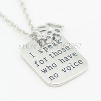 "Wholesale Veterinary Animals - 2016hand stamped""I speak for those who have no voice""paw print necklace veterinary vet tech animal rescue veterinarian dog lover"