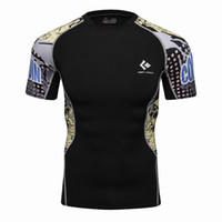 Wholesale Thermal Fashion Shirt - Mens Compression T Shirts Skin Tight Thermal Short Sleeve Rashguard MMA Crossfit Exercise Workout Fitness Sportswear TEES