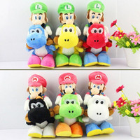 Wholesale Yoshi Plush Dolls - 1PCS Super Mario Bros Plush 18cm 6 colors Mario Riding Yoshi Plush Doll Luigi Riding Yoshi Plush Toy