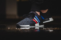 Wholesale Cheap Sports Canvas - 2017 high quality NMD Runner R1 Primeknit PK Tri-Color Red white blue Men Women Running Shoes Classic sports Sneakers Shoes eur 36-44 cheap