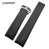 Wholesale Watch Push Button Clasp - JAWODER Watchband 24mm Black Diver Silicone Rubber Curved End Watch Band Strap with Stainless Steel Deployment Clasp for CAU1114.FT6024