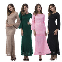 Wholesale Muslim Wear Clothing - X-XL Two Piece Dresses Long Maxi Dresses Women Elegant Lady Wear Lace Long Sleeve Maxi Dress suit Kaftan Abaya turkish Islamic Muslim clothe
