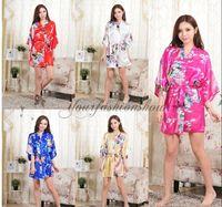 Wholesale Womens Sexy Chiffon Nightgown - Plus Size Womens Print Rayon Silk Robe Ladies Wedding Satin Long Sexy Pajama Lingerie Sleepwear Kimono Bath Gown Nightgown L182-M