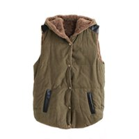 Wholesale Orange Fleece Jacket Wholesale - Wholesale- High Quality Women's Thick Cotton Fleece Warm Coats Sleeveless Hooded Jacket