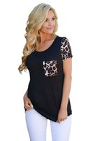 Wholesale Leopard Print Shirts For Women - 2017 Summer New Sexy Casual Style Plus Size Tops For Women Leopard Print Spliced Women T-shirt blusas camisas mujer