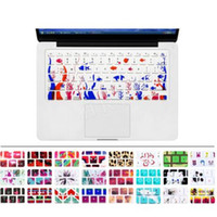 Wholesale Apple Macbook Pro Keyboard - Silicone Flower Decal Rainbow Keyboard Cover Keypad Skin Protector For Apple Mac Macbook Pro 13 15 17 Air 13 Retina 13 US OEM