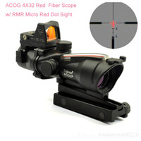 Wholesale Trijicon Acog Scopes - Nes Tactical Optic Scopes Trijicon ACOG Scopes TA31 4X32 Red Fiber Source Illuminated Scope with RMR Micro Red Dot
