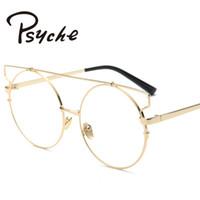 Wholesale Punk Eyeglasses - Wholesale- Vintage punk Eyeglasses Women Trendy Unique Glasses Metal Frames Oversize Round Eyeglasses Frames Women Clear Lens Glasses X2014