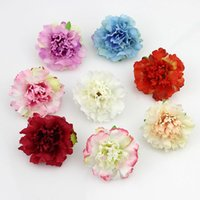 Wholesale Head Party Supply - 50pcs lot Approx 5cm Artificial carnation Flower Head Handmade Home Decoration DIY Event Party Supplies Wreaths