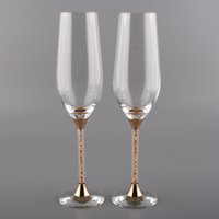 Wholesale pair Unique New Skull Beer Gold Color Stem Crystal Champagne Flutes ml Drinking Cups Crystals Rhinestone For Party Wedding