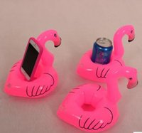 Wholesale Pink Promotional Items - Mini Flamingo Floating Inflatable Drink Can Cell Phone Holder Stand Pool Toys Event & Party Supplies DHL Free