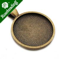 Wholesale Antique Copper Round Pendants Cabochon - Wholesale- 25mm Antique Bronze Round Cameo Cabochon Bezel Base Setting Pendants ,Sold 20 Pcs per pkg;Blank Pendant Trays,pendant bezel
