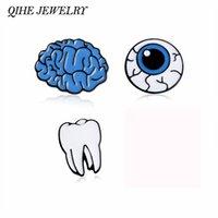Wholesale Teeth Brooches - Wholesale- QIHE JEWELRY Cartoon Cute Brain Eye Tooth Metal Brooch Pins Button Pins Girl Gift Fashion Jewelry Wholesale