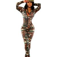 Wholesale Long Sleeved Jumpsuits - Wholesale- 2017 burst models women rompers Europe America long-sleeved camouflage jumpsuit sexy nightclub piece pants vestidos SJ2089