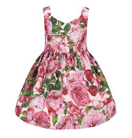 Wholesale Girls Suspended Neck - Everweekend Girls Floral Party Dress Summer Suspend Ruffles Princess Dress Sweet Children Holiday Christmas Dresses