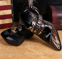 Wholesale Bridegroom Shoes - 2016 New Soft Print Leather Men Dress Shoes Metal Buckles Pointed Toe Bridegroom Wedding Shoes Business Men Oxfords Height Increasing Shoes