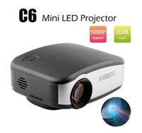 Cheap led meetings - HD 1080P LCD LED Projector C6 Mini Portable Projectors 1200 Lumens Home Theater for Meeting Teaching KTV HDMI USB VGA AV TV Media Player