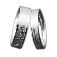 Wholesale Tension Set Couples Rings - Titanium Steel Heartbeat Love Cardiogram ECG Design Couple Rings High Polished Tail Ring For Men Women Wedding Ring